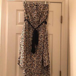 Leopard Print Strapless Dress